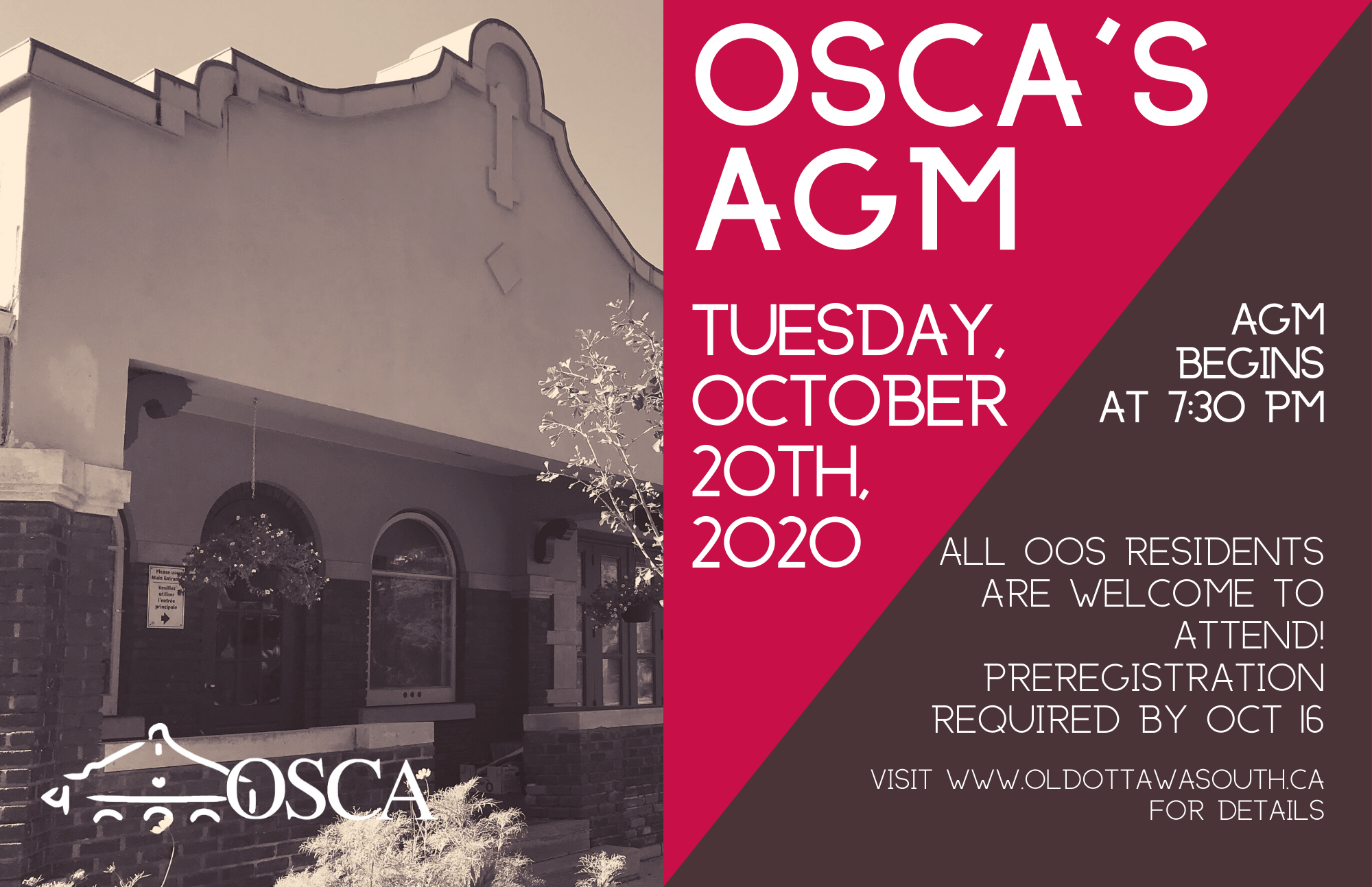 OSCA's AGM: Tuesday October 20th at 7:30pm. Registration now open.