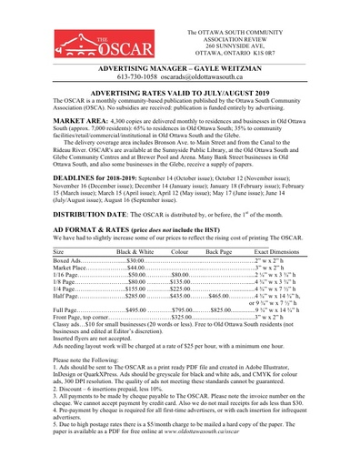 OSCAR 2018 19 Rate Sheet