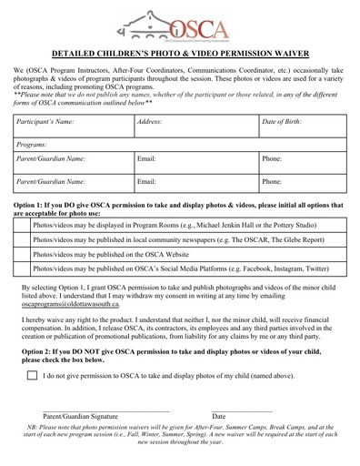 Photo permission waiver form