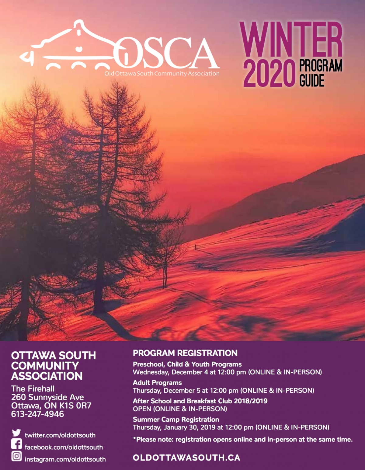 OSCA's Winter Programs Are Coming
