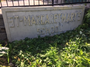Nameplate from St. Margaret Mary's School, Bellwood Ave. Photo by Brian Tansey.