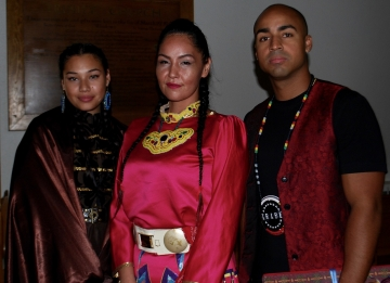 Justin Holness with traditional indigenous dancers.