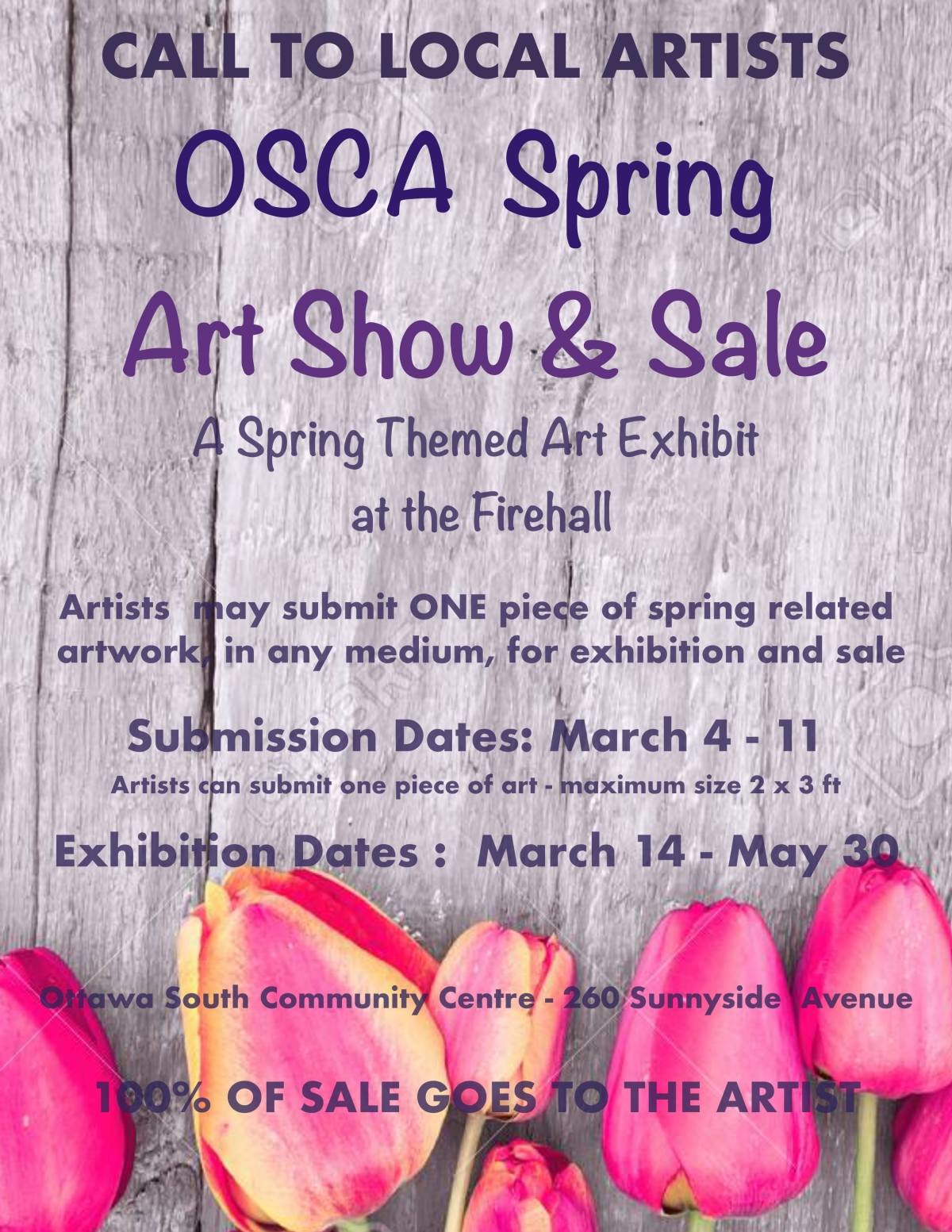 Spring Art Show & Sale - Accepting Pieces from March 4th to 11th